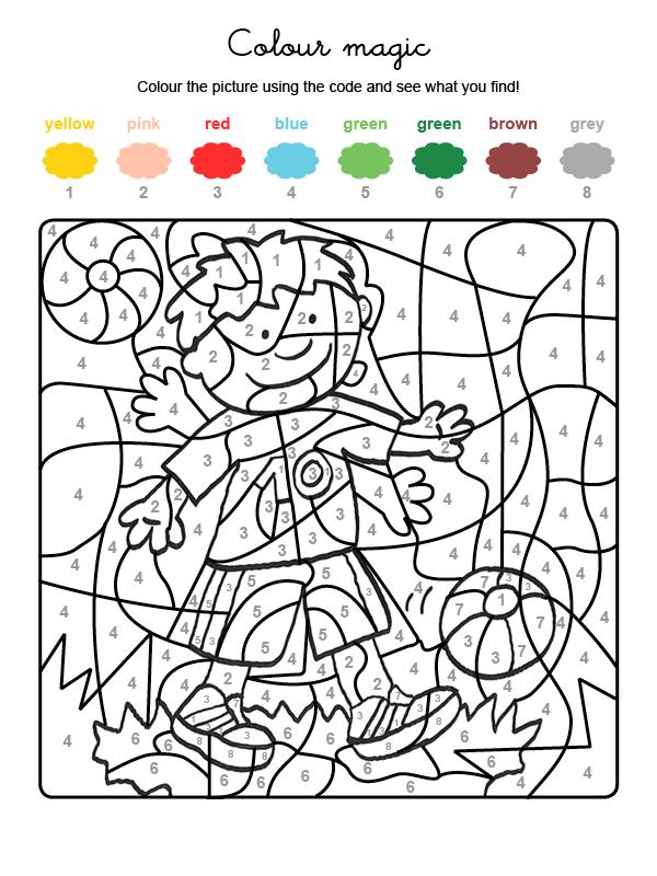 Dibujo mágico para colorear en inglés de niño jugando al fútbol