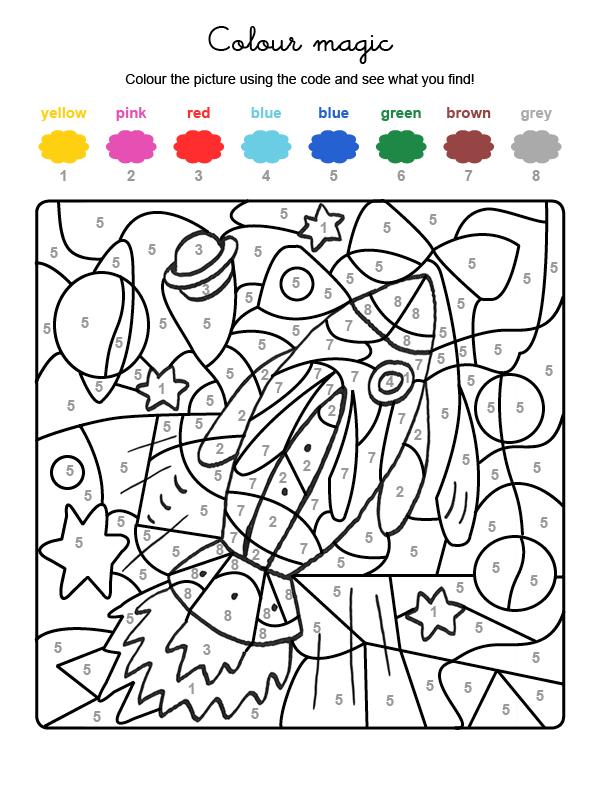 Dibujo mágico para colorear en inglés de un cohete espacial