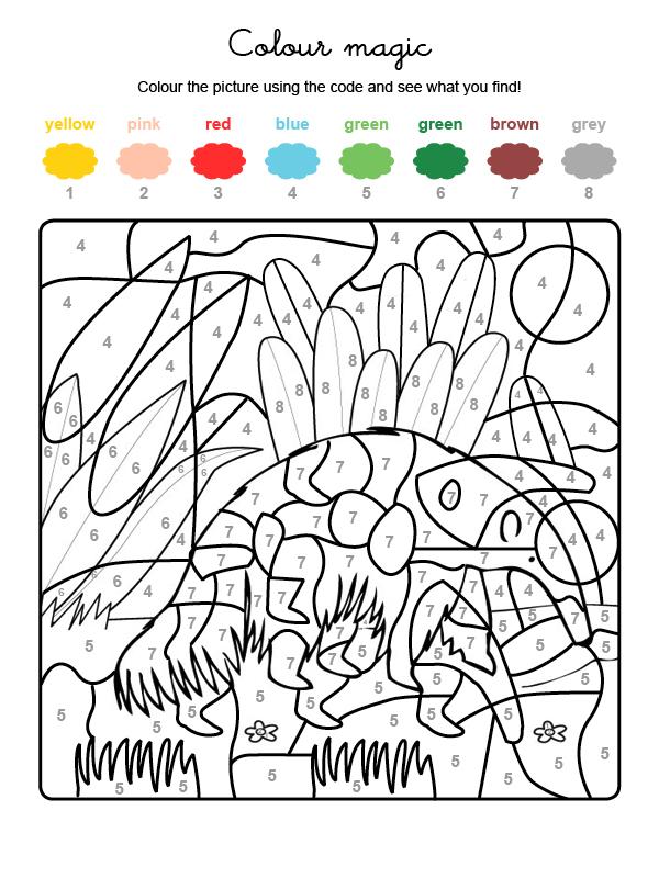 Dibujo mágico para colorear en inglés de un oso hormiguero