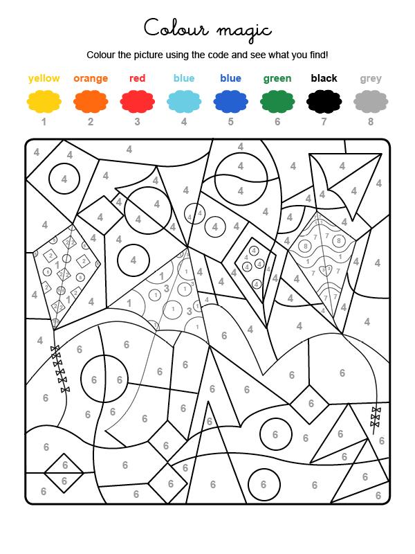 Dibujo mágico para colorear en inglés de cometas volando en el cielo