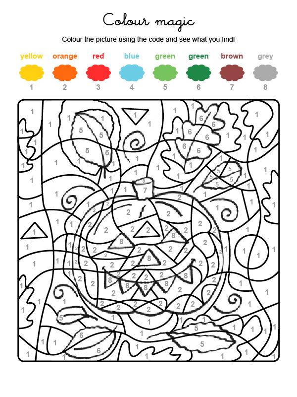 Dibujo mágico para colorear en inglés de una calabaza de Halloween