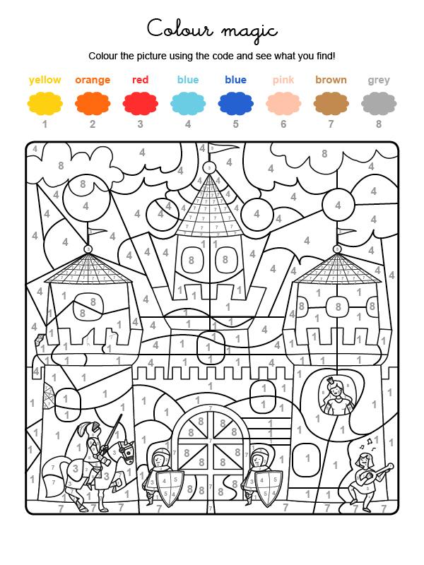 Dibujo mágico para colorear en inglés de soldados defendiendo una fortaleza