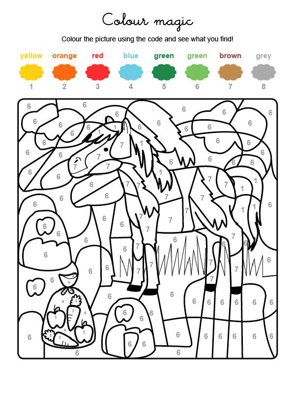 Dibujo mágico para colorear en inglés de un caballo en el campo