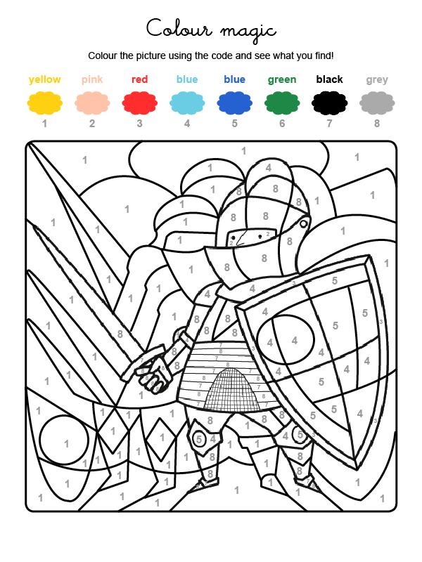 Dibujo mágico para colorear en inglés de un caballero medieval