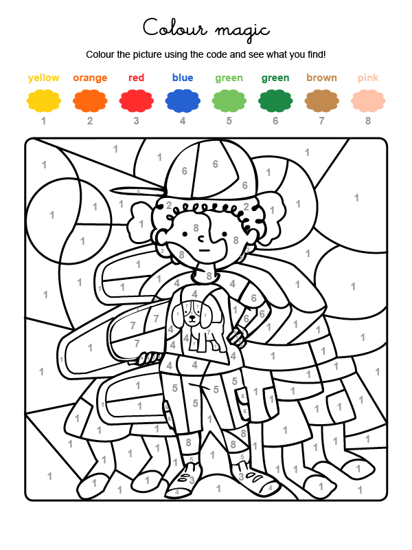 Dibujo mágico para colorear en inglés de un niño y su amigo el perro