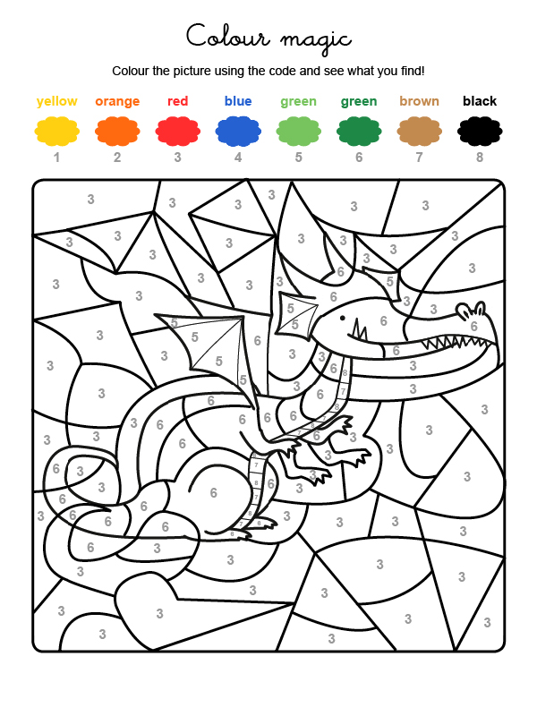 Colour by numbers: un dragón: Dibujos para colorear