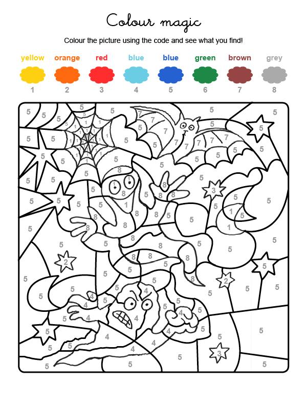 Dibujo mágico para colorear en inglés de fantasma y murciélago de Halloween
