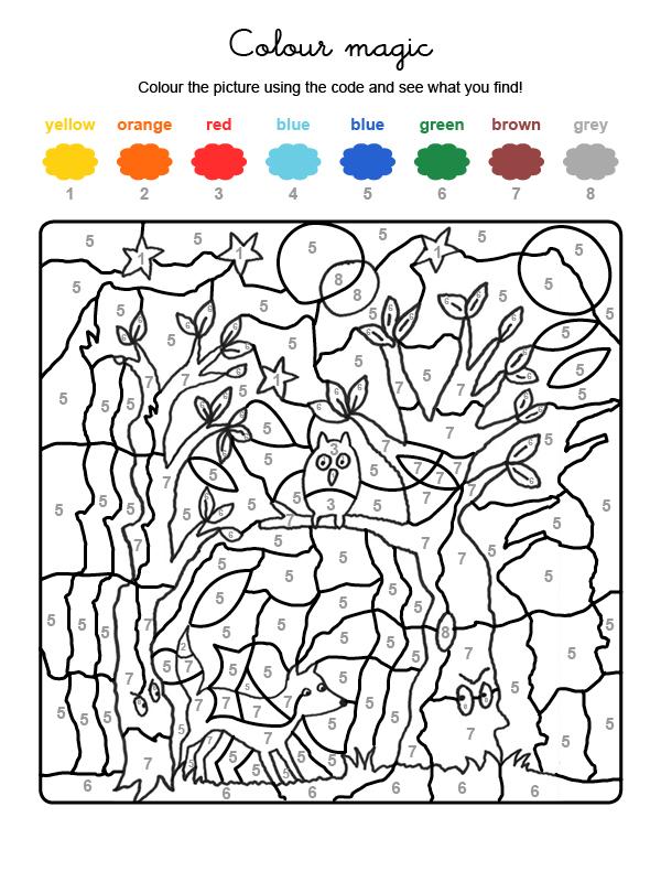 Dibujo mágico para colorear en inglés de fantasma en el bosque