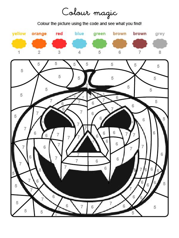 Dibujo mágico para colorear en inglés de una supercalabaza de Halloween