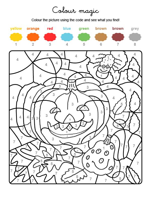 Dibujo mágico para colorear en inglés de calabazas y araña