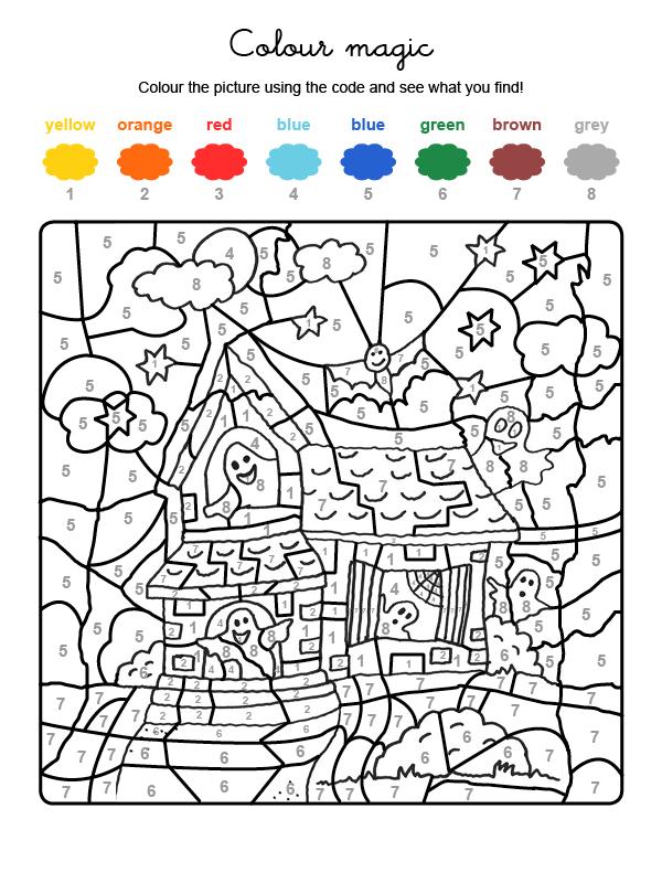 Dibujo para colorear en inglés de la casa de los fantasmas