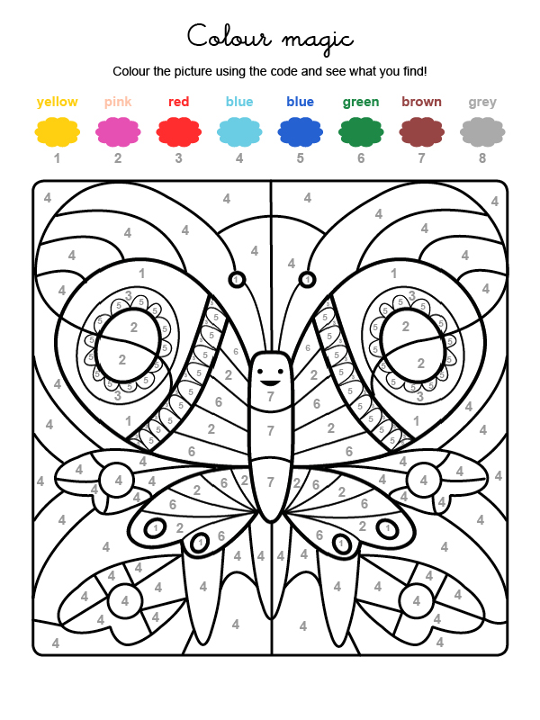 Colour by numbers: una mariposa de colores