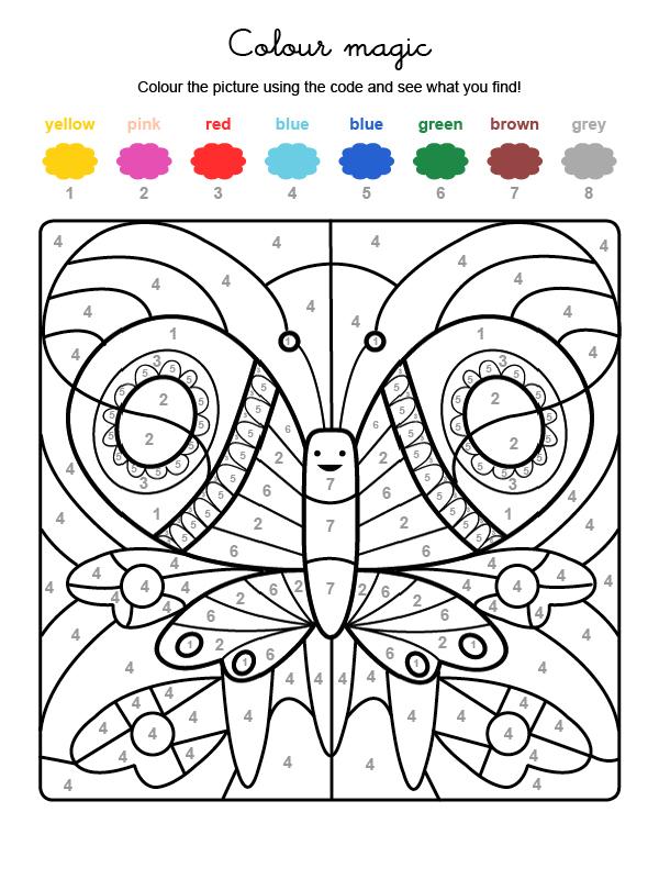 Dibujo mágico para colorear en inglés de una mariposa de colores