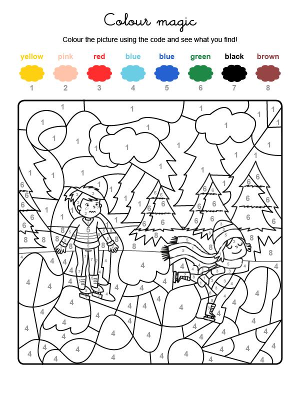 Dibujo mágico para colorear en inglés de pista de hielo en la montaña