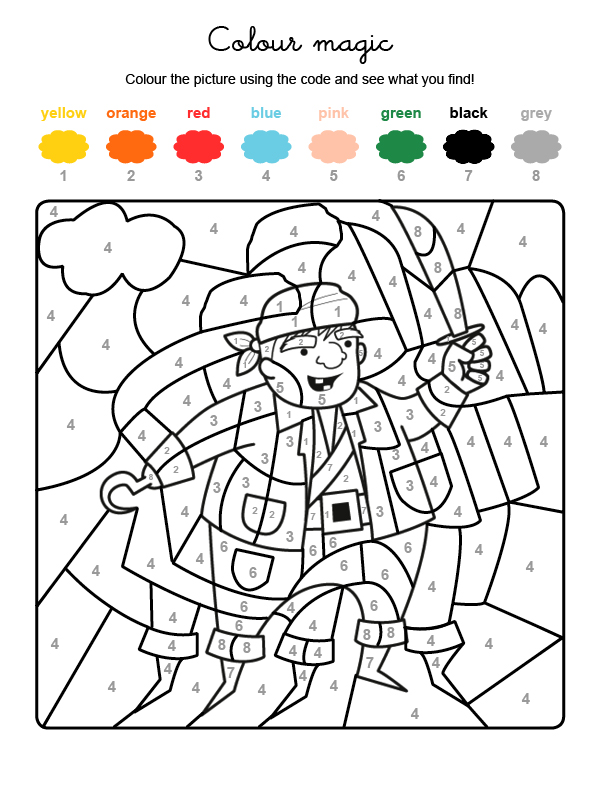 Colour by numbers: un pirata: Dibujos para colorear