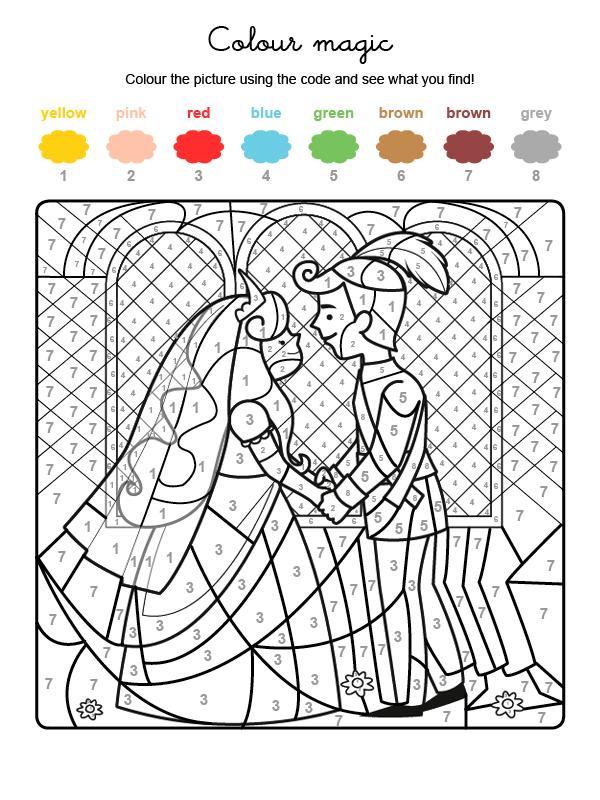 Dibujo mágico para colorear en inglés de boda de príncipes