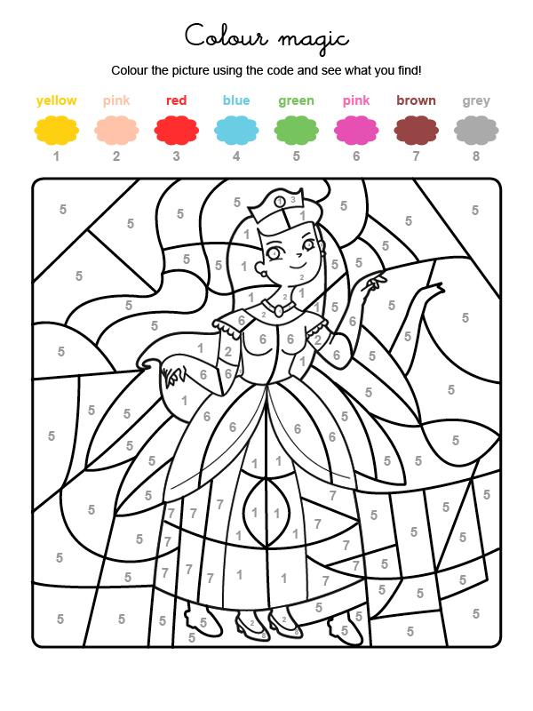 Dibujo mágico para colorear en inglés de una princesa