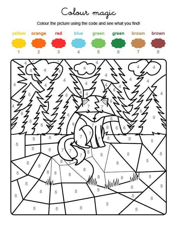 Dibujo mágico para colorear en inglés de un zorro en el campo
