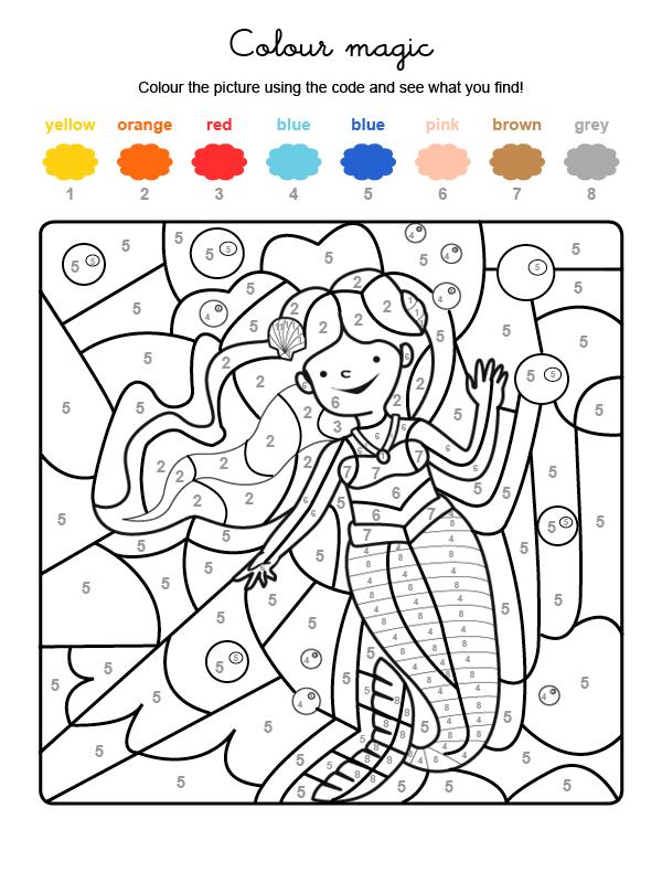 Dibujo mágico para colorear en inglés de una sirena bajo el agua