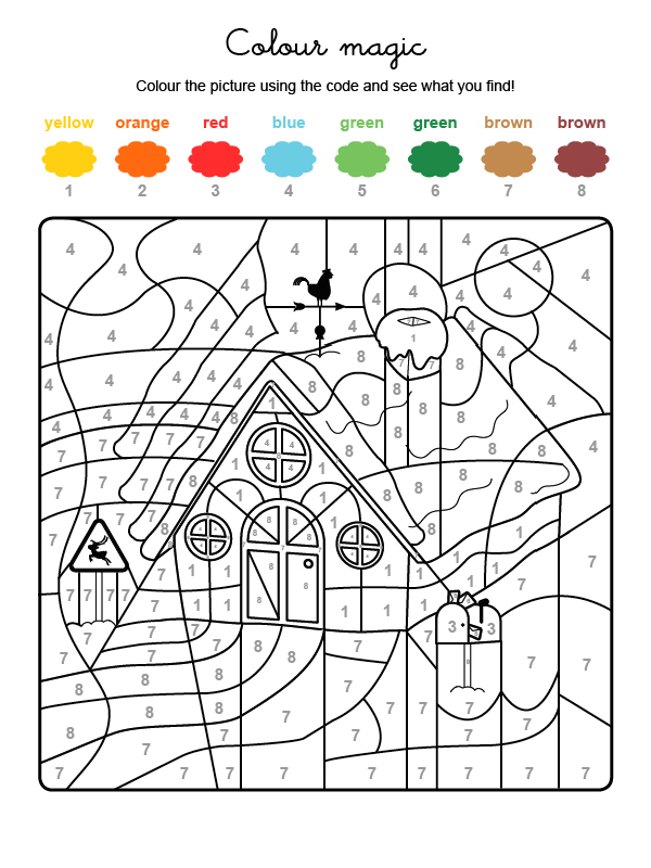 Dibujo mágico para colorear en inglés de la casa de Papá Noel