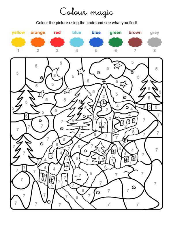 Dibujo mágico para colorear en inglés de casas bajo la nieve