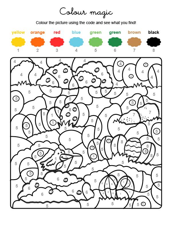 Dibujo mágico para colorear en inglés de caza de huevos