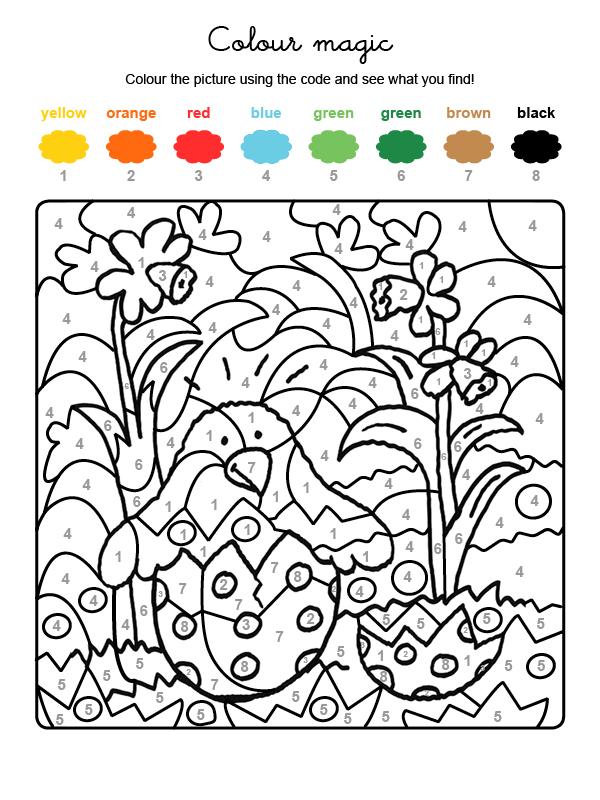 Dibujo mágico para colorear en inglés de un polluelo saliendo del huevo