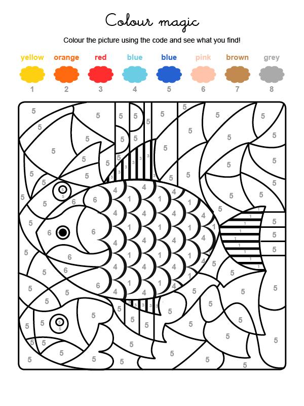 Dibujo mágico para colorear en inglés de un pez de colores