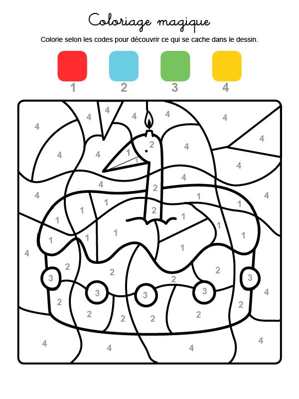 Dibujo mágico para colorear en francés de cumpleaños 1