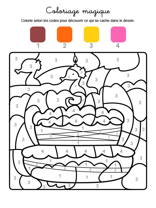 Dibujo mágico para colorear en francés de cumpleaños 3