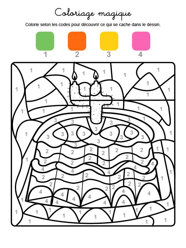 Dibujo mágico para colorear en francés de cumpleaños 4