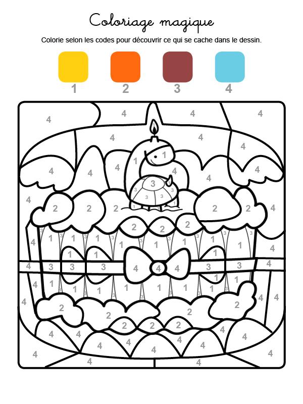 Dibujo mágico para colorear en francés de cumpleaños 6
