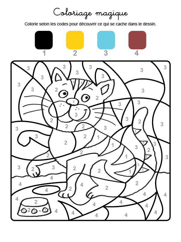 Dibujo mágico para colorear en francés de un gato tigre