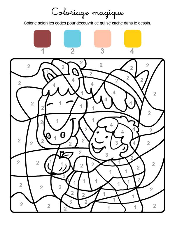 Dibujo mágico para colorear en francés de un caballo comiendo una manzana