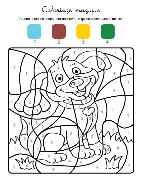 Dibujo mágico para colorear en francés de un perrito