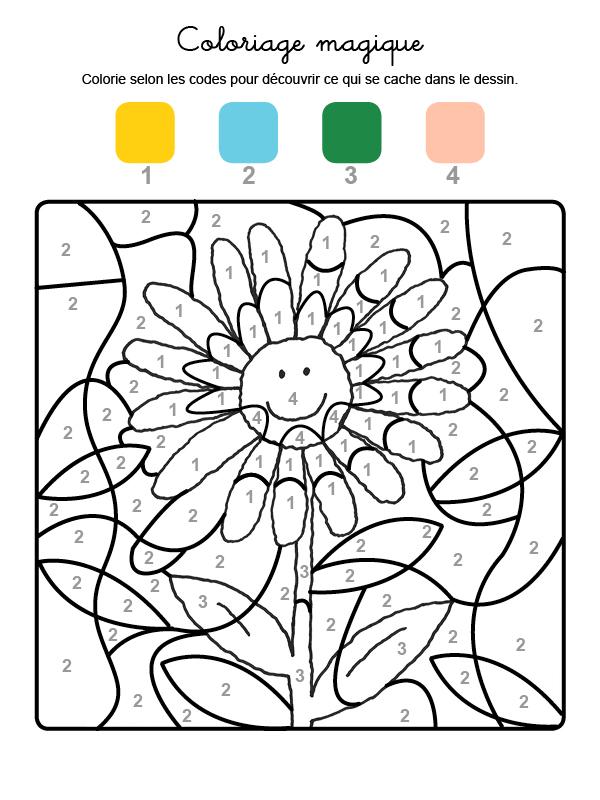 Dibujo mágico para colorear en francés de una margarita