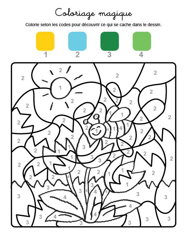 Dibujo mágico para colorear en francés de una abeja y flores