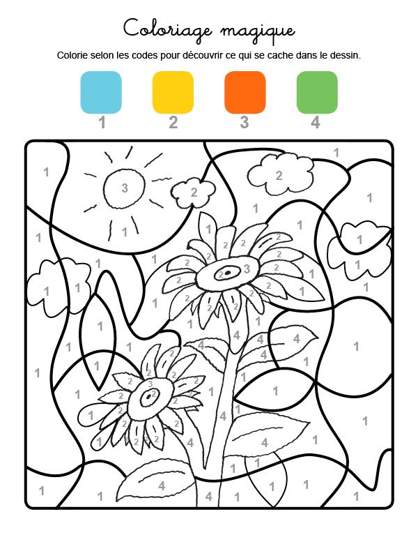 Dibujo mágico para colorear en francés de girasoles