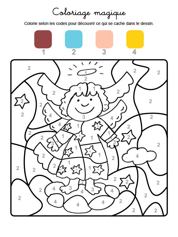 Dibujo mágico para colorear en francés de ángel de Navidad