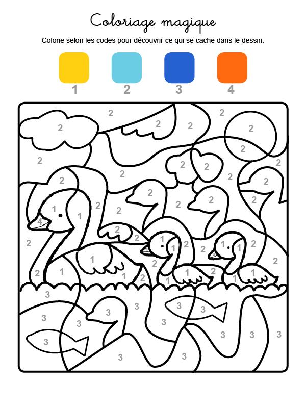 Dibujo mágico para colorear en francés de familia de patos
