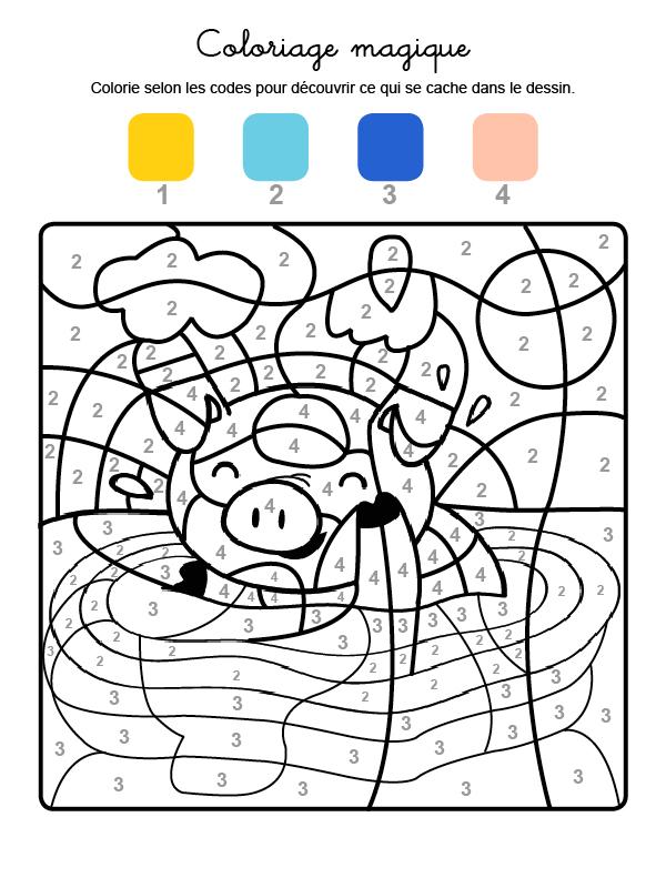 Dibujo mágico para colorear en francés de un cerdito