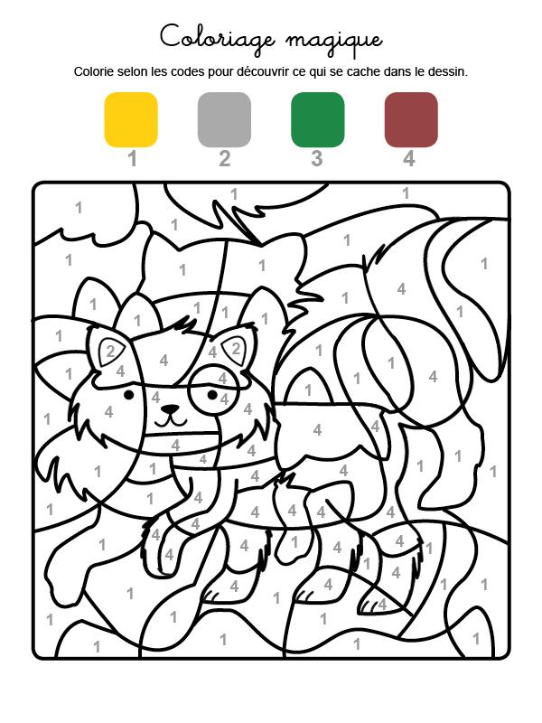 Dibujo mágico para colorear en francés de un gatito