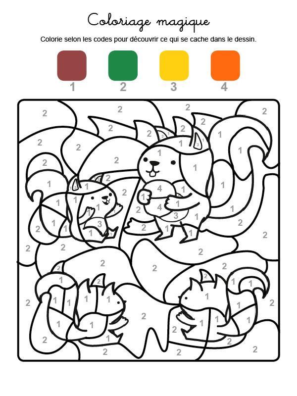 Dibujo mágico para colorear en francés de familia de ardillas