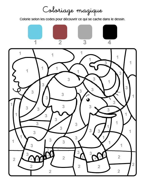 Dibujo mágico para colorear en francés de un elefante