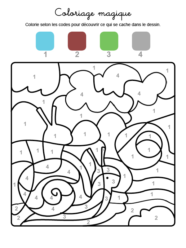 Dibujo mágico para colorear en francés de un caracol