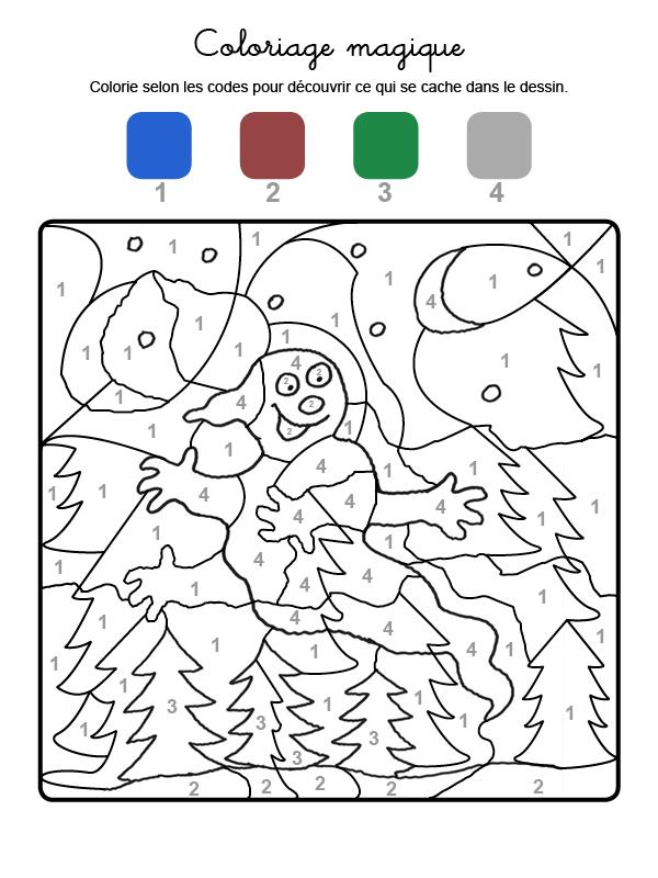 Dibujo mágico para colorear en francés de un fantasma en la noche
