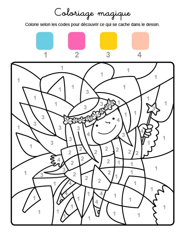 Dibujo mágico para colorear en francés de un hada con varita mágica