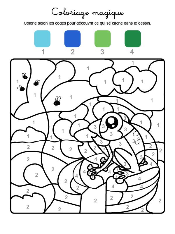 Dibujo mágico para colorear en francés de una rana con abejas