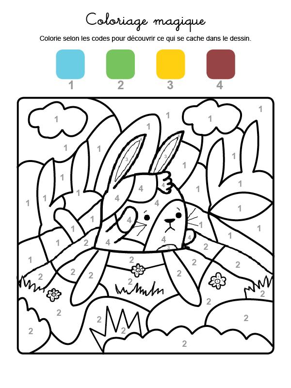 Dibujo mágico para colorear en francés de un conejo en el campo