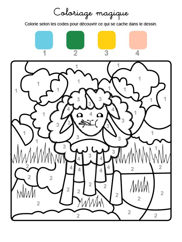 Dibujo mágico para colorear en francés de una oveja